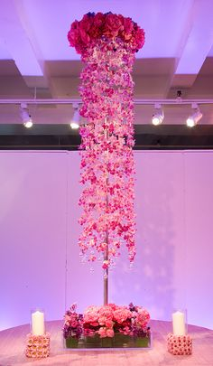 Preston Bailey Event Ideas, Tall pink orchid Centerpiece