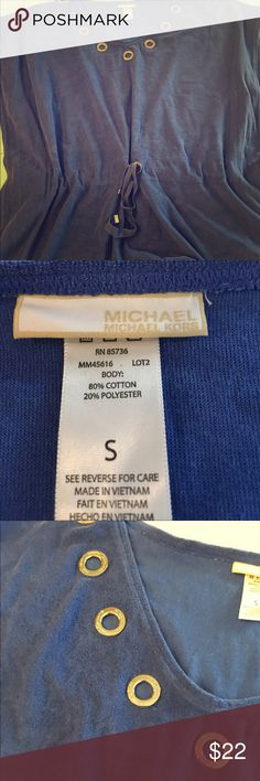 Michael Kors blue swim cover up Size small, towel material, blue swim cover up. Worn before. Good condition KORS Michael Kors Swim Coverups
