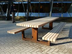 Outdoor Tables, Outdoor Decor, Delft, Picnic Table, Benches, Wood Projects, Landscapes, Outdoor Furniture, Spaces