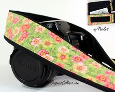 Primrose Camera Strap with Pocket, dSLR, Pink, Coral, Yellow, Floral, SLR. $35.00, via Etsy.