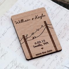 Power Line Love Typography with Lovebirds Save the Date Magnets - Laser cut and Etched on Wood