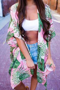 Leaf Print Kimono Coat – Chiclotte Kimono Coat, Kimono Cardigan, Tropical Outfit, Summer Kimono, Winter Fashion Casual, Bohemian Beach, Cardigan Outfits, Knitted Coat, Striped Leggings
