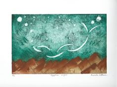 Egyptian Nights Color Intaglio Print Etching by JPCreationsOnline