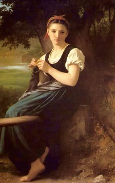 The Knitting Woman painting by William-Adolphe Bouguereau - ウィリアム・アドルフ・ブグロー - Wikipedia
