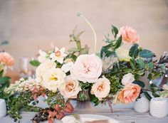 pale peach and yellow flowers, desert inspired floral arrangement