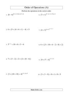 math worksheet : order of operations worksheet  decimals order of operations  : Order Of Operations Math Worksheet