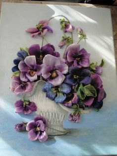 silk ribbon embroidery Pensy in vase