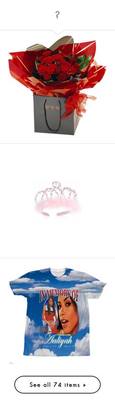 """💋"" by idc-baby ❤ liked on Polyvore featuring accessories, hair accessories, pink hair accessories, silver tiara, pink tiara, silver hair accessories, tops, aaliyah, shirts and blue top"