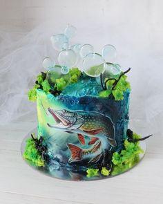 Fishing Theme Cake, Gone Fishing Cake, Fisherman Cake, Fish Cake Birthday, Cake Decorating Designs, Hand Painted Cakes, Little Cakes, Cake Icing, Cakes For Boys