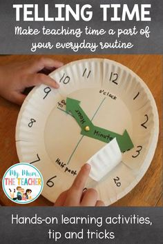 My Mum, the Teacher Telling Time - hands on learning activities, tips and tricks Teaching Learning Material, Primary Teaching, Teaching Time, Hands On Learning, Teaching Math, Kids Learning, Teaching Spanish, Educational Activities, Learning Activities