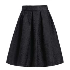 Jacquard Black Midi Skirt ($27) ❤ liked on Polyvore featuring skirts, calf length skirts, knee length a line skirt, patterned midi skirt, knee high skirts and floral print a-line skirt