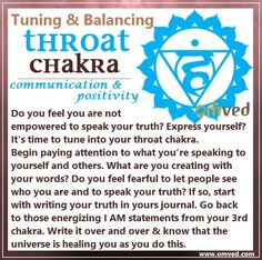 Fifth (Throat) Chakra TUNING - Color: Blue Location: Throat, Body Parts Governed: Mouth, teeth, gums, thyroid, and tonsils This is the energy space where you stand in your personal and universal truth and feel empowered to speak it to others. Your words are energy. Try this to tune into this space.   ~☆~