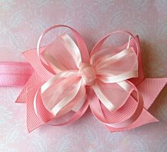 Pretty Pink Hair Bow Baby and Girls Headband with Bare foot Sandals on Etsy, £6.00