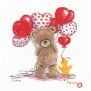 Teddy with heart balloons.