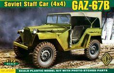 GAZ-67B, Soviet Staff Car (4x4). Ace, 1/72, rebox 2002, (ex Ace 2002 No.72201, changed box only), No.72201. Price: 9,85 USD (marketplace).