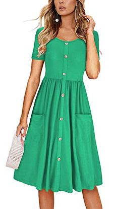 KILIG Women's Summer Sundress Spaghetti Strap Button Down Dress with Pockets Green Summer Dresses, Casual Summer Dresses, Summer Dresses For Women, Green Dress, Spring Dresses, Maxi Outfits, Short Mini Dress, Everyday Dresses, Maxi Dress With Sleeves
