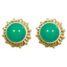 """Inspired by charismatic sunbursts, these charming stud earrings showcase emerald-hued centers and gold-plated settings.  Product: Pair of earringsConstruction Material: Zinc and resinColor: EmeraldDimensions: .375"""" H each"""