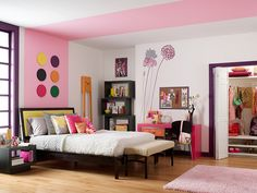 So many colors, so little time! We love this Tokyo-pop inspired room that is great for a kid's bedroom. These colors create a fun and youthful vibe, and we love adding color along the windows and trim.  Main wall and Ceiling : Fuji Snow T11-13 Accent wall: Kawaii T11-14 Trim: Harajuku Girl T11-12 Accents: Lizard Breath T11-11 Pinkelicious T11-15
