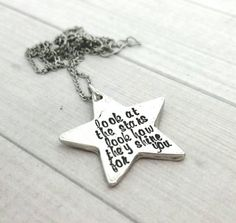 Personalized Star necklace,  hand stamped star jewelry, stars shine for you.