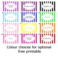 Free Printable Candy Buffet Labels | ... the colour choice and lolly names. You can then print out your labels