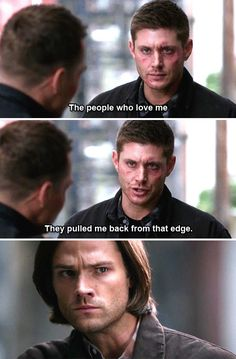 "[gifset] 10x7 ""The people who love me...."" This was such an important line. They don't use the word 'love' much on this show, like Dean never can actually say it, but he did here -about Sam and Cas- and it was beautiful."