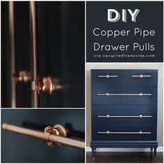 An old craigslist dresser gets a transformation that includes DIY copper pipe drawer pulls! UpcycledTreasures.com #DIY