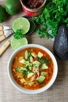 Chipotle Lime Soup with Shredded Chicken - Gluten Free - The Honour System. Great combination of smoky chipotle & sweet lime. Served with chicken & avocado.