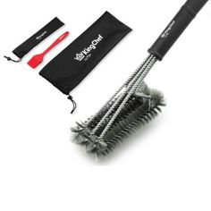 BBQ Grill Brush Cleaner - Includes FREE Silicone Basting Brush- Stainless Steel… (affiliate link)