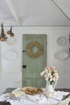 FRENCH COUNTRY COTTAGE: fall dining room - love that old door!