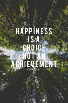 Happiness is a choice not an achievement.