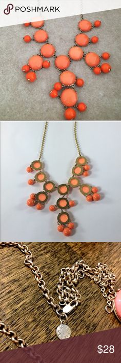 "J. Crew coral bubble statement necklace Bubble statement necklace from J. Crew. No condition issues, worn only a couple times. Coral/salmon color. Adjustable chain up to 30"". J. Crew Jewelry Necklaces"