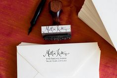 Custom Address Stamp with Calligraphy & Type by kmcalligraphy, $50.00