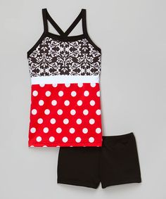 Look what I found on #zulily! Black & Red Polka Dot Tank & Shorts - Toddler & Girls by Elliewear #zulilyfinds