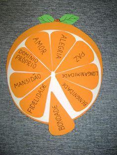 Gálatas.-para losque ya saben leer y escribir, recortar un círculo naranja y otro más chico en blanco, luego recortar los gajos de la naran...