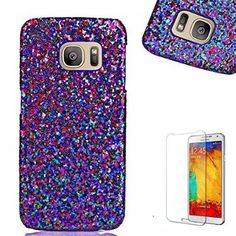 Samsung Galaxy S7 Case [with Free Screen Protector], FunPlus Fashion Luxury Shiny Glitter Bling Ultra Thin PU PC Material Hard Skin Shell Case for Samsung Galaxy S7 (Blue)