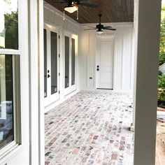 Pictured is 1 of 4 porches of this custom home with Old Brick Pavers & Pine tong. is 1 of 4 porches of this custo. Brick Porch, Brick Paver Patio, Outdoor Pavers, Front Porch, Porch Flooring, Brick Flooring, Brick Tile Floor, Brick Floor Kitchen, Brick Siding