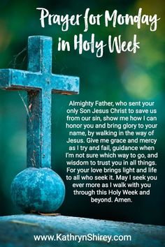 Prepare your heart for Easter with these powerful Holy Week prayers. May you draw near to God using this special Holy Week prayer prompt. Holy Week Prayer, Monday Prayer, Monday Morning Prayer, Gospel Reading, Scripture Reading, Book Of Common Prayer, Daily Prayer, Holy Week Activities, Holy Saturday