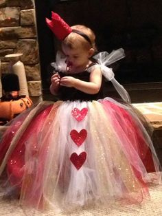 A pretty queen of hearts tutu for toddlers.