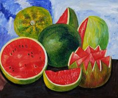Frida Y Diego Rivera, Frida And Diego, Watermelon Painting, Fruit Painting, Fridah Kahlo, Women Artist, Kahlo Paintings, Frida Art, Still Life