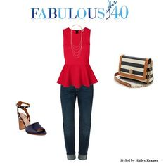 A red peplum top with jeans adds a flirty, feminine touch.l Fabulous After 40