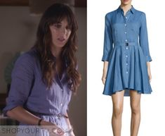 Spencer Hastings (Troian Bellisario) wears this blue belted shirt dress in this week's episode of Pretty Little Liars. It is the Theory Jalyis Sunny Belted Shirtdress. Pretty Little Liars Seasons, Pretty Little Liars Fashion, Fashion Tv, Fashion Beauty, Fashion Outfits, Spencer Hastings Style, Spencer Pll, Pll Outfits, Belted Shirt Dress