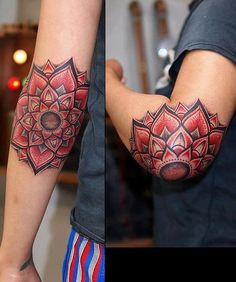 Tattoo - Mandala - Red - Black - Elbow