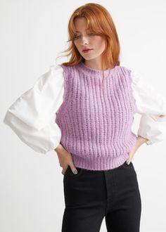 Scalloped Glitter Knit Vest - Lilac - Vests - & Other Stories GB