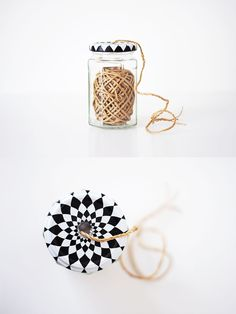 Repurposed jar twine dispenser. How clever!