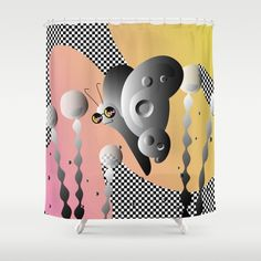 PIXEL GARDEN - Black White Checkered Butterfly Dream Shower Curtain by S T U D I O A O K O | Society6  #style #fashion #graphicdesign #design #butterfly #opart #art #graphic #checkered #checker #blackandwhite #pink #sunglasses #cute #bag #handbag #shopping #trippy #flora #fauna #plant #outdoors #landscape #garden #society6 #nyc #brooklyn #apartment #pillow #throwpillow #couch #livingroom #living #apartment #apartmenttherapy #home #homedecor #shower #showercurtain #bath #bathroom