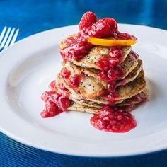 Lemon Poppy Seed Pancakes With Raspberry Syrup. Get this and 50+ more Pancakes recipes at https://feedfeed.info/pancakes