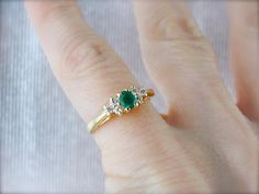 Classic Emerald Diamond Yellow Gold Ring Emerald Engagement
