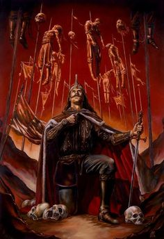Vlad Tepes, also known as Vlad Dracul. He is the character that inspired the fictional character Dracula, due to his extremely painful and bloody way to execute enemies, impaling them while alive. Vlad Der Pfähler, Vlad El Empalador, Bram Stoker's Dracula, Dark Fantasy, Fantasy Art, Arte Horror, Horror Art, Transylvania Dracula Castle, Monsters