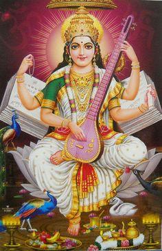 "Goddess of Knowledge:Goddess Saraswati Hindu Poster(Size10""x16""Inches:npd2281)"
