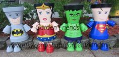 Superman, Spiderman, Batman, Incredible Hulk, Wonder Women, Wonderwomen, Wolverine, Super Heroes Clay Pot People, Pot People Planters by GARDENFRIENDSNJ on Etsy https://www.etsy.com/listing/281340092/superman-spiderman-batman-incredible